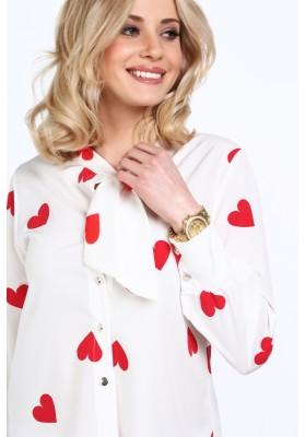 Krémová elegantná košeľa s červeným srdciami