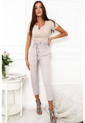 Elegantné nohavice s vysokým pásom, sivé