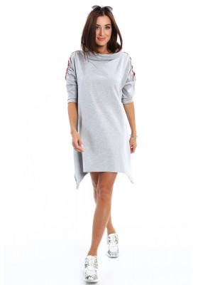 Mikinové šaty s rozšírením do tvaru A,  sivé