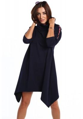 Mikinové šaty s rozšírením do tvaru A,  modré