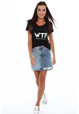 Moderné tričko s nápismi na prednej strane zdobené trblietavými zirkónmi, čierne