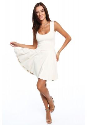 Bavlnené šaty s výrezmi vzadu, béžové