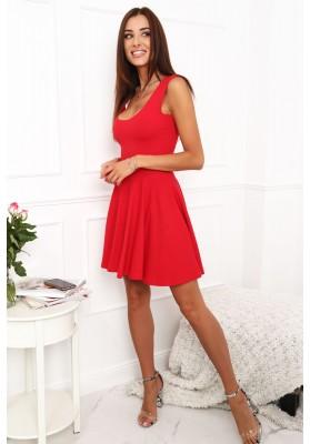 Bavlnené šaty s výrezmi vzadu, červené