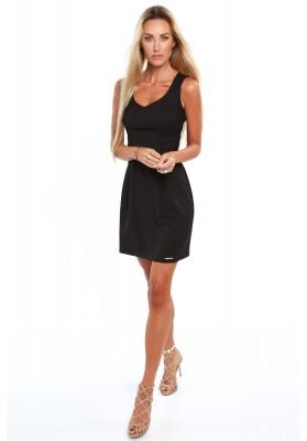 Elegantné šaty s výstrihom do V, na širokých ramienkach, čierne