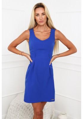 Elegantné šaty s výstrihom do V, na širokých ramienkach, modré