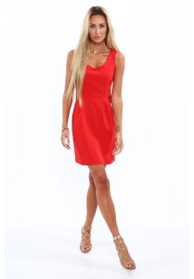 Elegantné šaty s výstrihom do V, na širokých ramienkach, červené