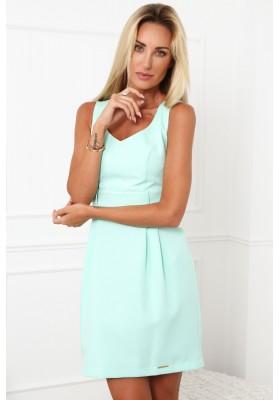 Elegantné šaty s výstrihom do V, na širokých ramienkach, mentolové