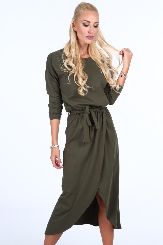 Khaki dámske šaty s látkovým opaskom