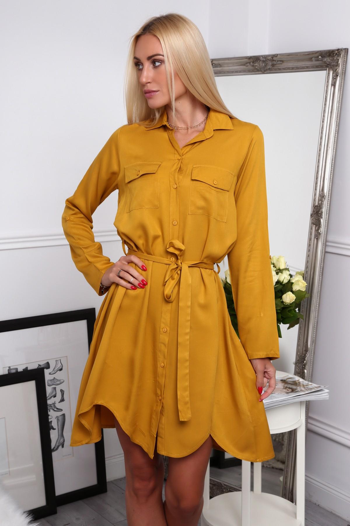 Košeľové šaty moderného strihu, žlté