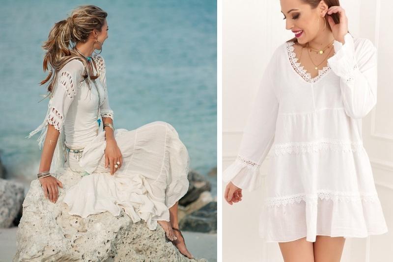 Biele voľné šaty s čipkou