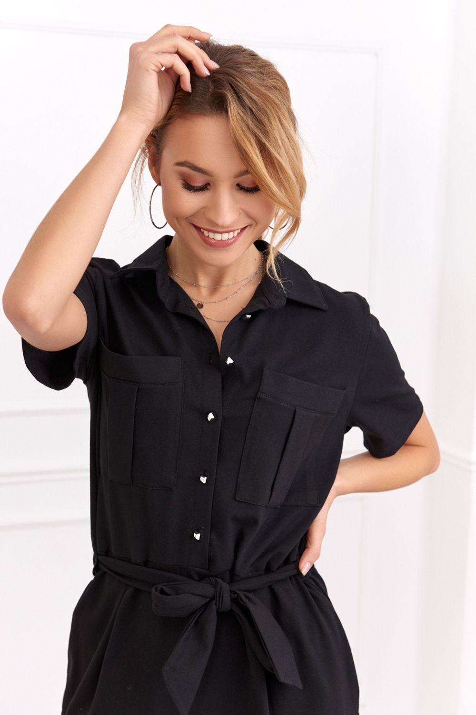 Košeľové čierne šaty