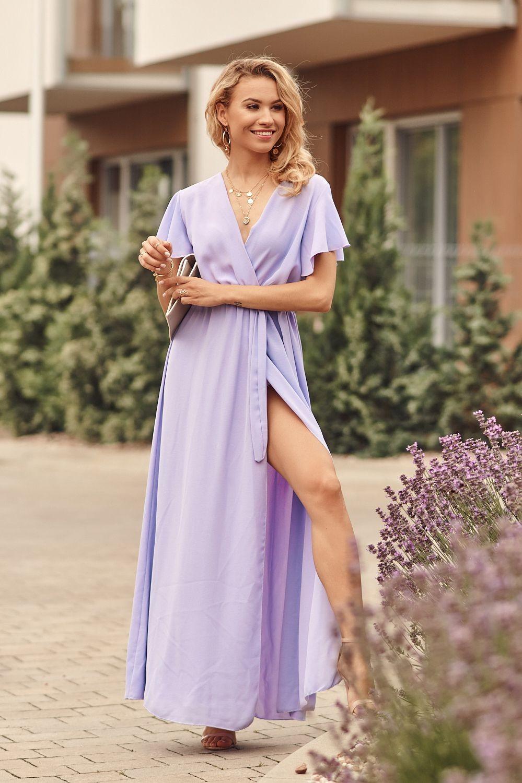 Fialové maxi šaty