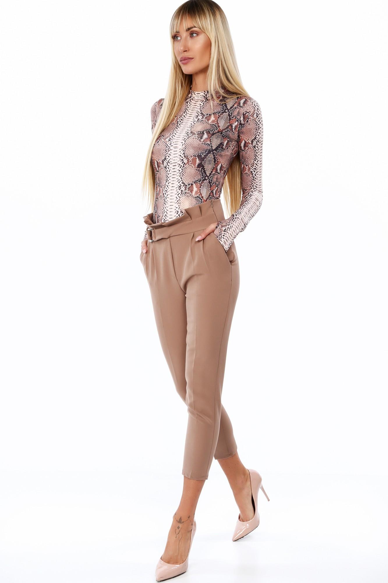 Béžové nohavice s vysokým pásom