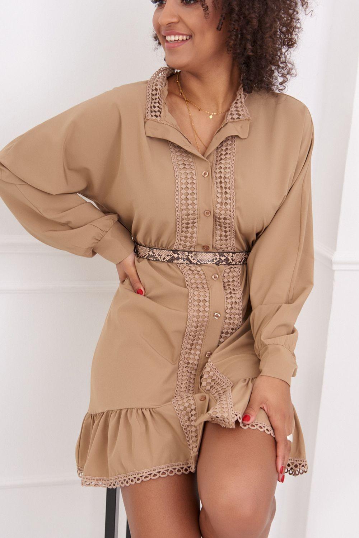 Béžové košeľové šaty