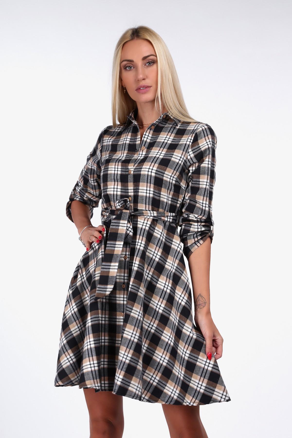 Kárované košeľové šaty