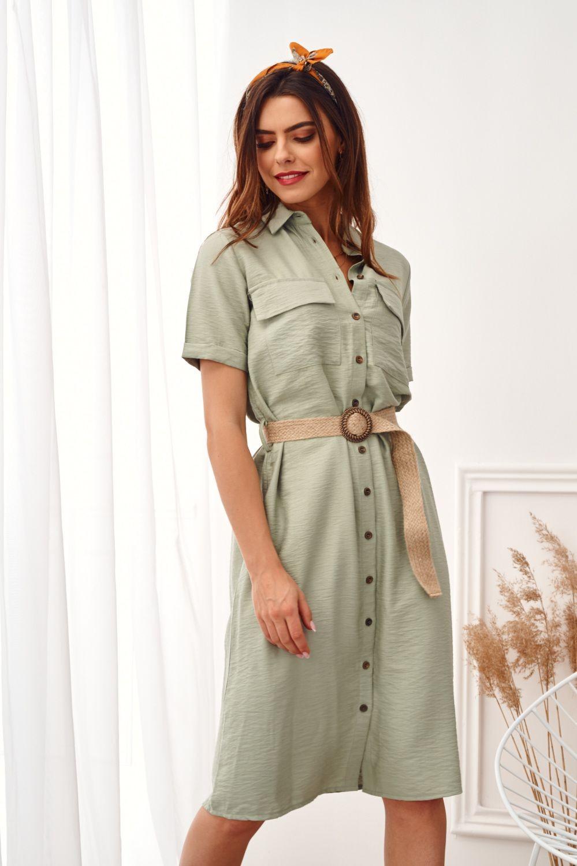 Zelené šaty s opaskom